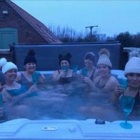 Enjoying the Hot Tub in the Snow