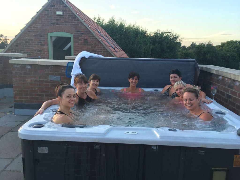 Enjoying The Hot Tub Yorkshire Cottage for Hen Do