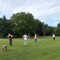 Rounders Game in the Garden